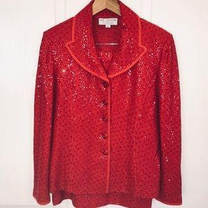 St John Red paillette skirt suit